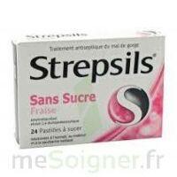 STREPSILS FRAISE SANS SUCRE, pastille édulcorée à l'isomalt, au maltitol et à la saccharine sodique à BU