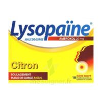 LysopaÏne Ambroxol 20 Mg Pastilles Maux De Gorge Sans Sucre Citron Plq/18 à BU
